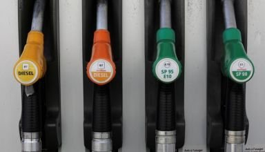 FILE PHOTO: Fuel nozzles with new European labels to standardise gas pumps in the EU zone are seen at a petrol station in Nice