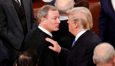 FILE PHOTO: U.S. President Trump greets Justice Roberts after delivering his State of the Union address in Washington